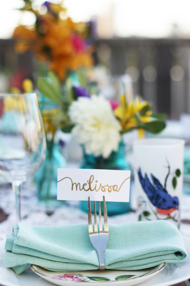 table setting, name setting, diy summer party table setting,