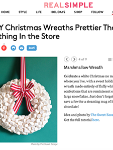 marshmallow wreath, real simple magazine, wreath, christmas, holiday wreath, diy