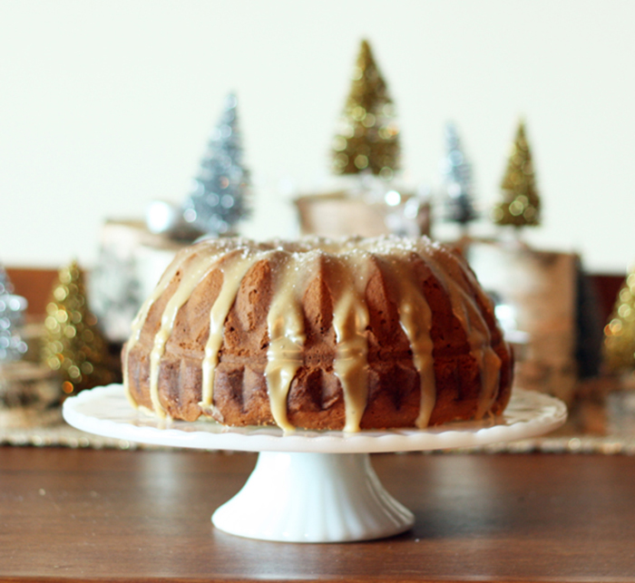 GOOD EATS: eggnog cake with salted caramel glaze