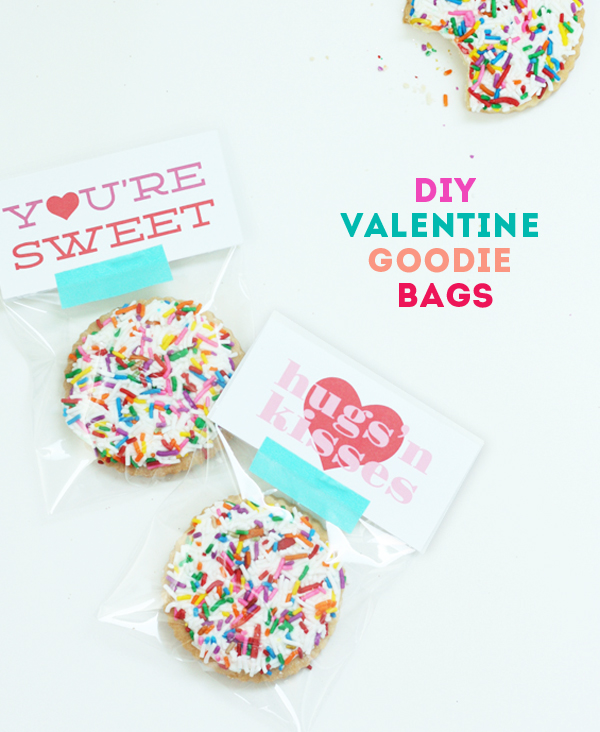 DIY valentine lable goodie bag