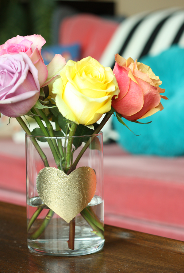 DIY gold leaf heart vase