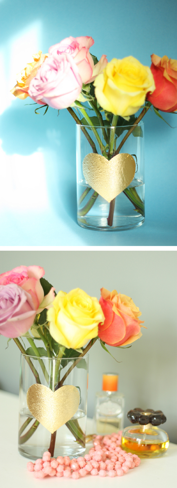 gold leaf heart vase DIY 9