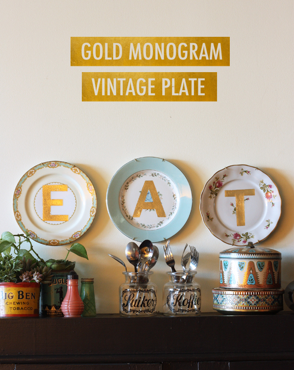 Diy gold lettered vintage plates the sweet escape for Craft ideas for old dishes