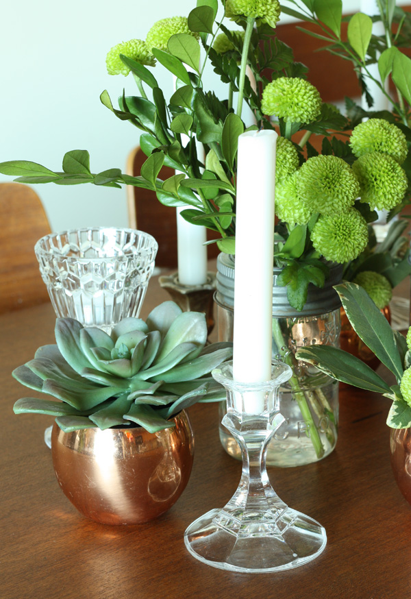 green vintage centerpiece 6
