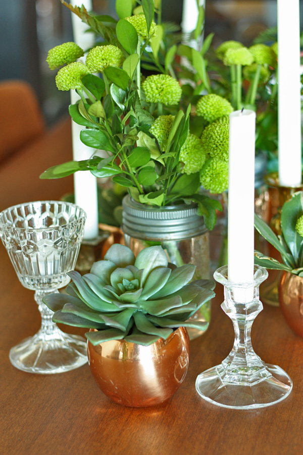 green vintage centerpiece 7