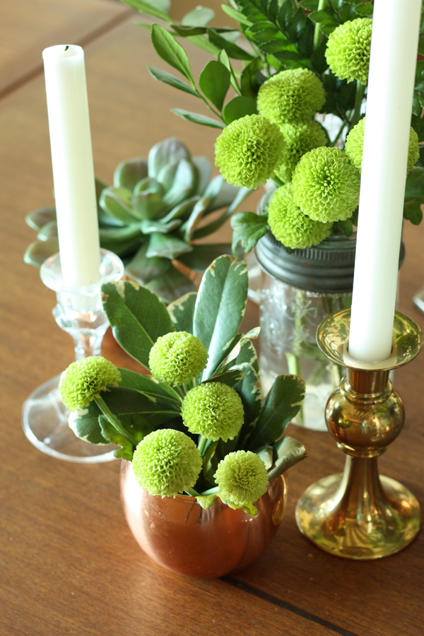 green vintage centerpiece 9