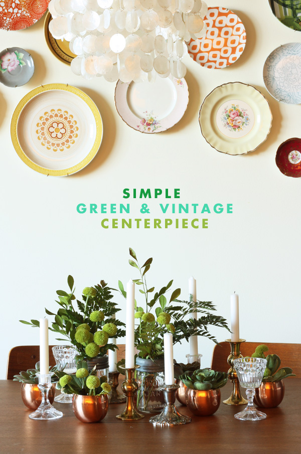 green vintage centerpiece