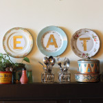 DIY gold monogram vintage plates / The Sweet Escape