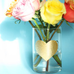 DIY gold leaf heart vase / THe Sweet Escape