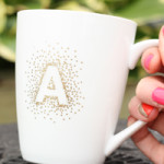 diy gold polka dot monogram mug
