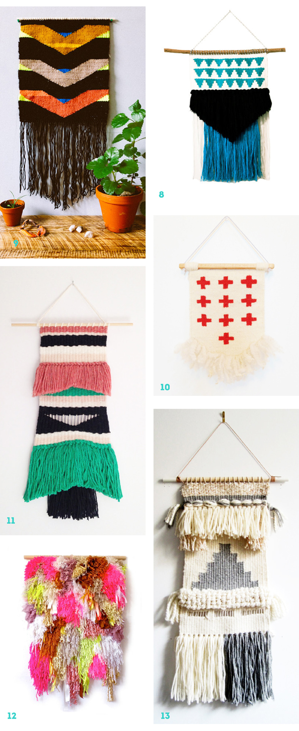 Woven wall hangings on Etsy / The Sweet Escape