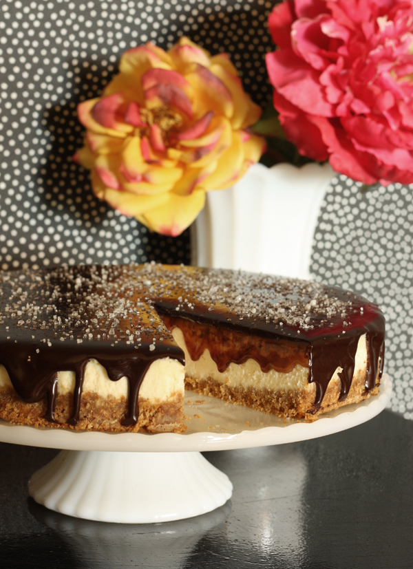Salted Caramel & Dark Chocolate Coconut Cheesecake Recipe / The Sweet Escape