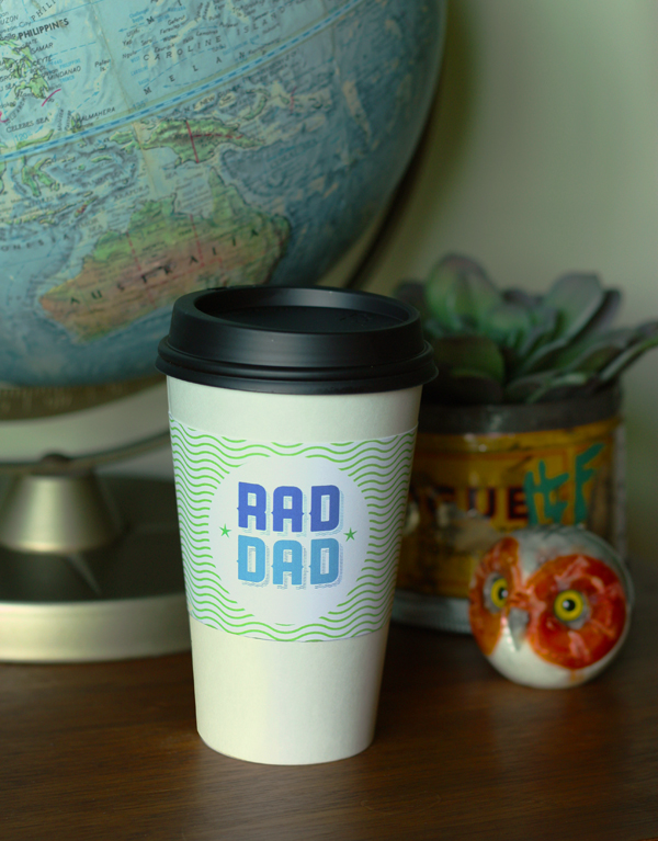 DIY: free printable coffee cup sleeve for Father's Day