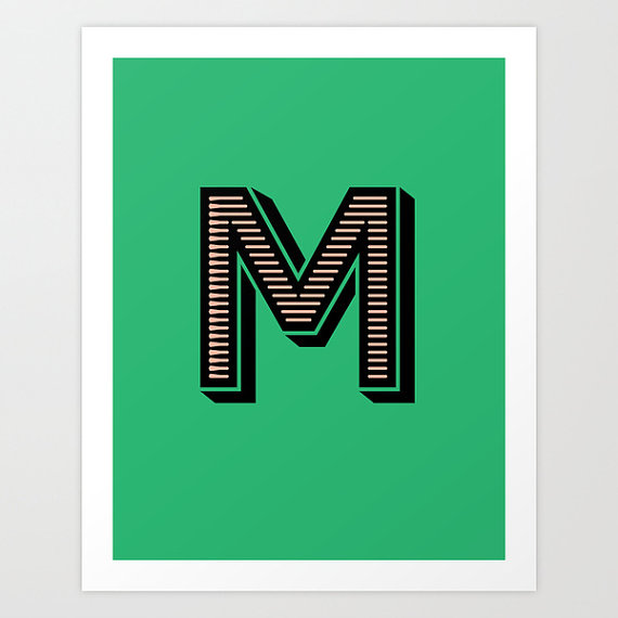 Letter M Initial Print / The Sweet Escape