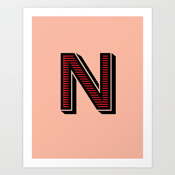 Letter N Initial Print / The Sweet Escape