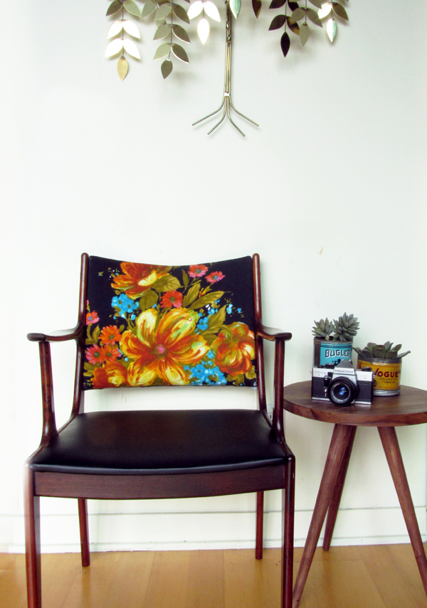BEFORE & AFTER: vintage chair makeover using vintage dress / The Sweet Escape