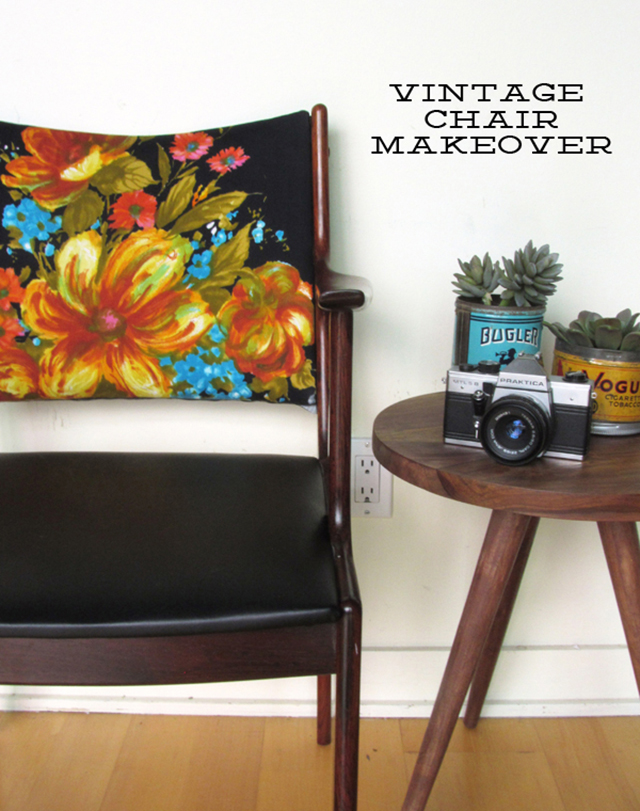BEFORE & AFTER: vintage chair makeover using a vintage dress