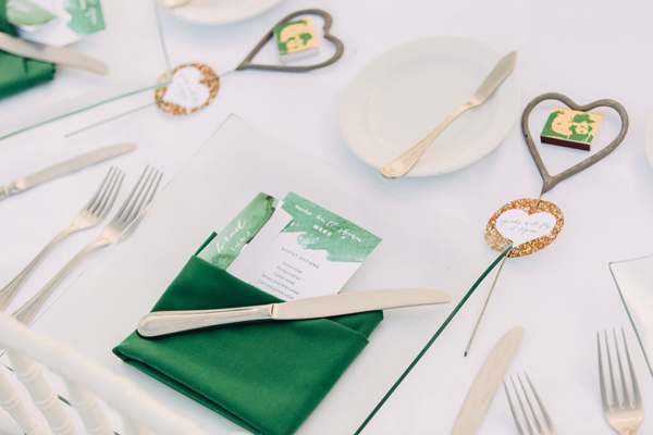 Emerald Green Watercolour theme wedding design: Menu & Sparklers / The Sweet Escape
