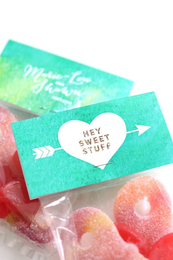 Emerald Green Watercolour theme wedding design: Hot Stuff Candy Bags / The Sweet Escape