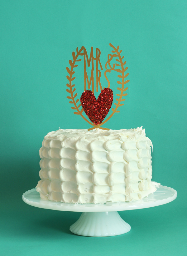 Red Heart Glitter Wedding Cake Topper / The Sweet Escape