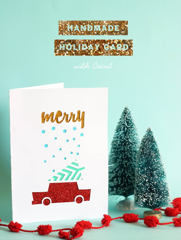 Handmade glitter paper cut out christmas card using Cricut / The Sweet Escape