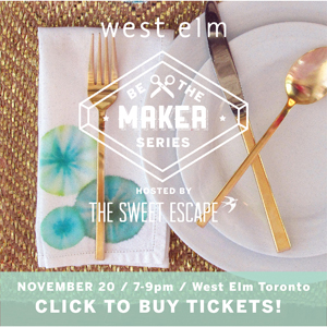 be the maker craft workshop series at West Elm / The Sweet Escape