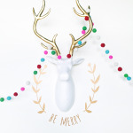 gold, vinyl decal, holiday decor, christmas, deer head, holiday decal