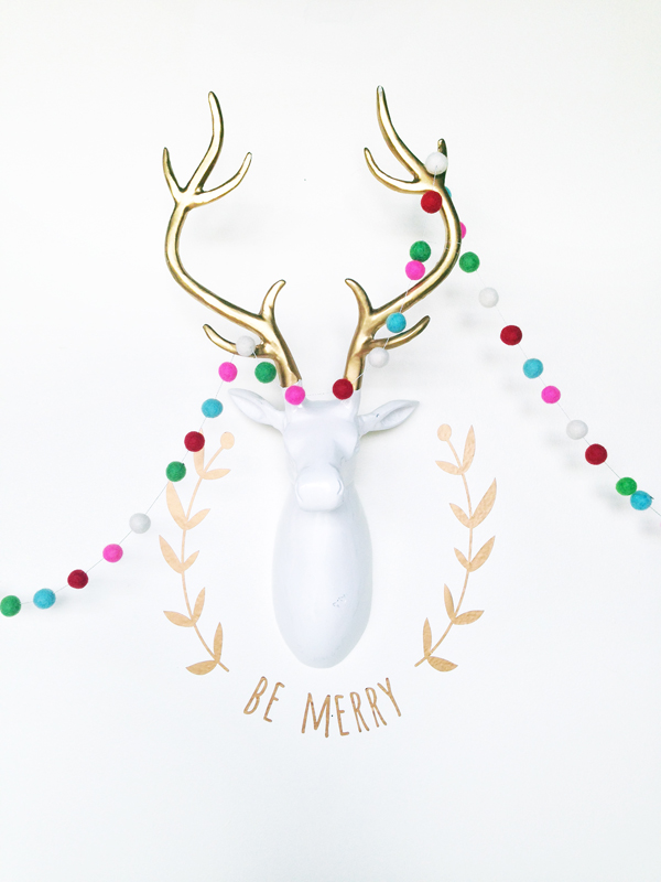 Gold Vinyl Holiday Deer Head Wall Decal