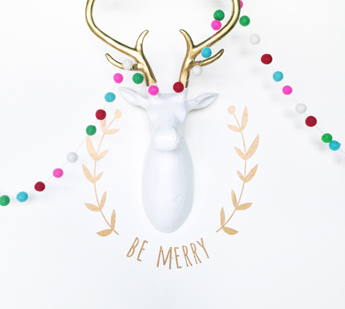 DIY: gold vinyl christmas wall decal + Cricut machine giveaway