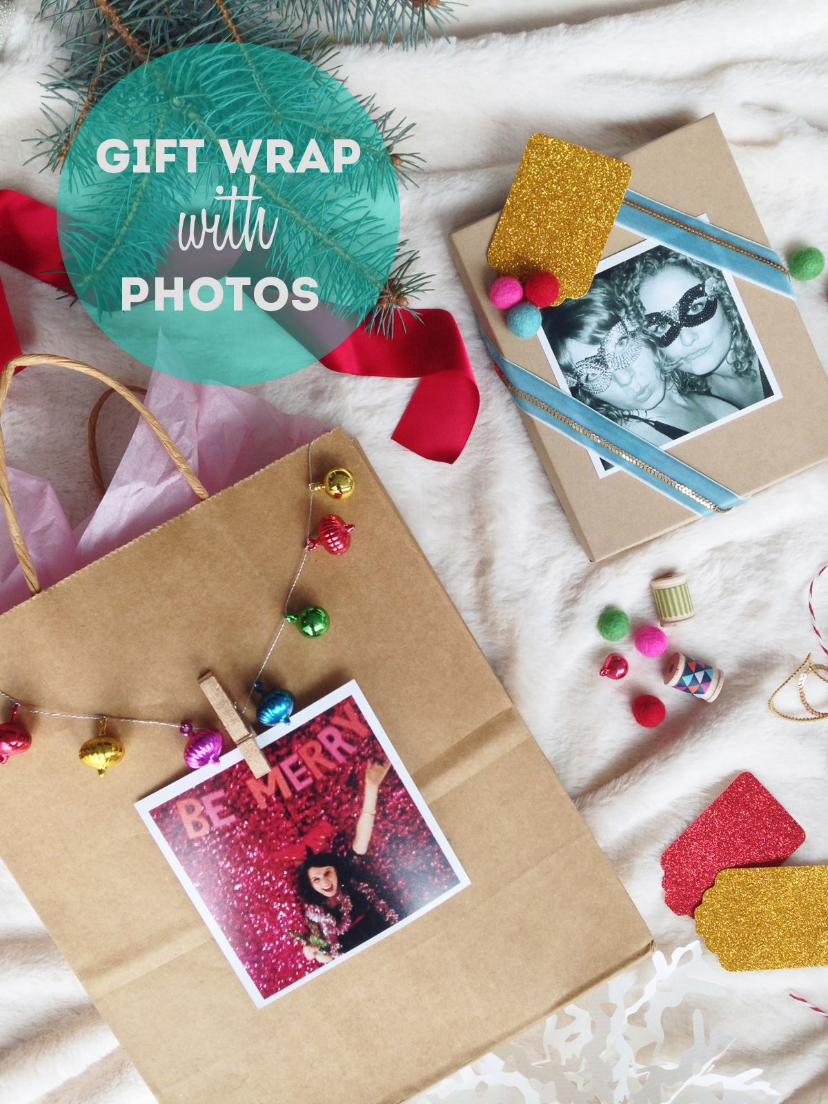 Gift wrap ideas using photos / The Sweet Escape