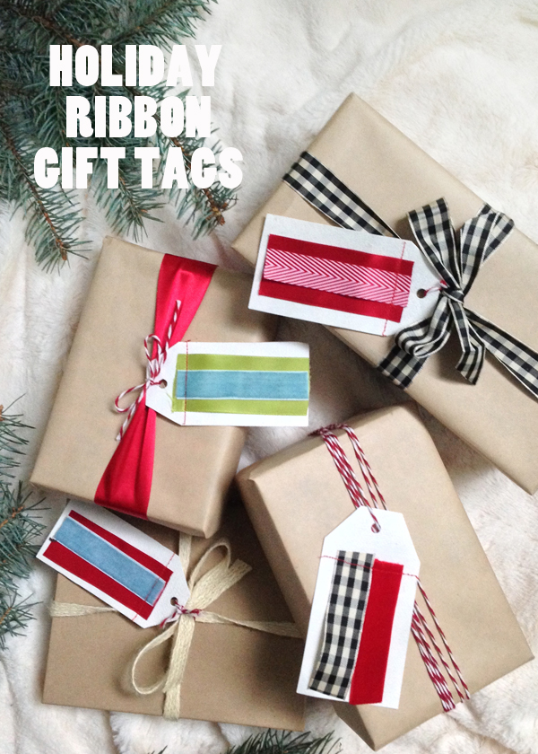 DIY Holiday Christmas ribbon gift tags / The Sweet Escape