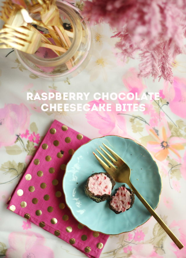 GOOD EATS: raspberry chocolate cheesecake bites