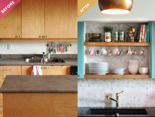 Before & After Kitchen Makeover: How to make opening shelving / The Sweet Escape