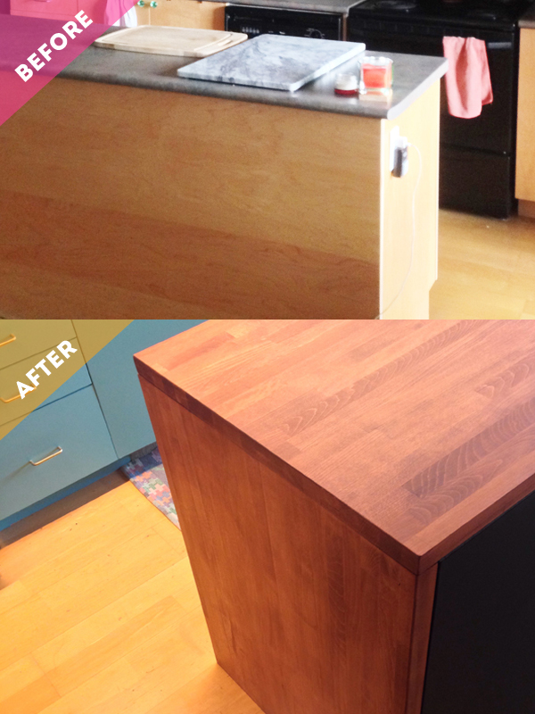 DIY butcher block island BEFORE AFTER