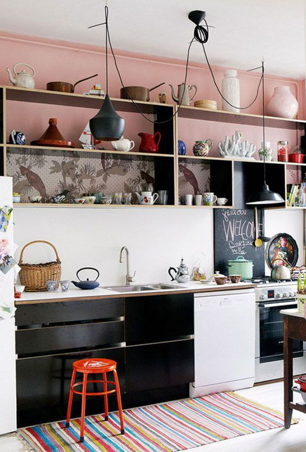 Blush Pink Home Decor Trend / The Sweet Escape  #pink #black #kitchen