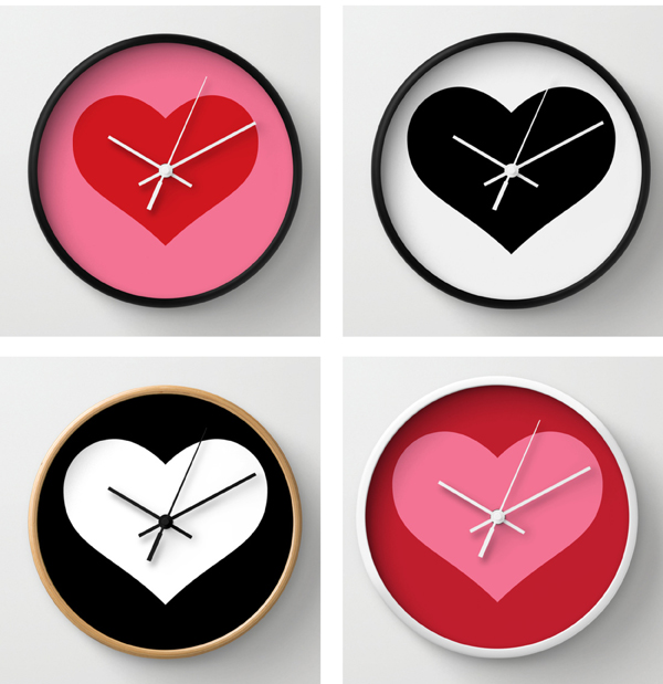 red pink heart design wall clock / The Sweet Escape
