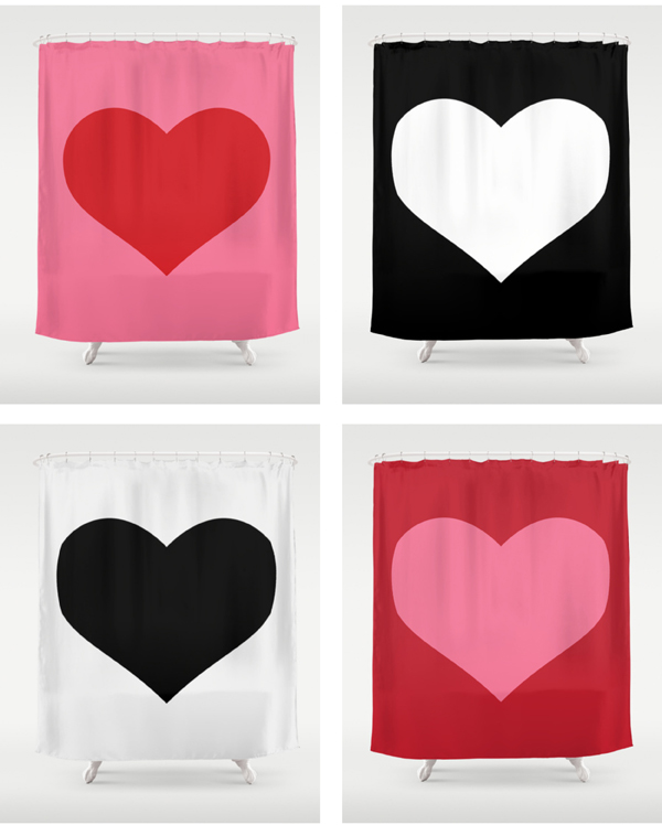 red pink heart design shower curtain/ The Sweet Escape