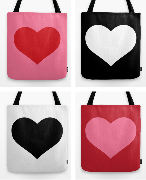 red pink heart design tote bag/ The Sweet Escape
