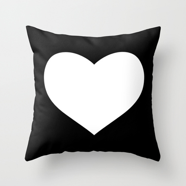 black white heart design pillow for valentines / The Sweet Escape