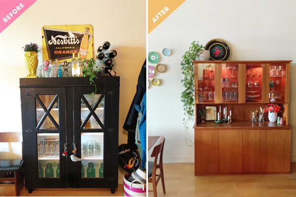 Vintage Teak Dinning Hutch Before & After / The Sweet Escape
