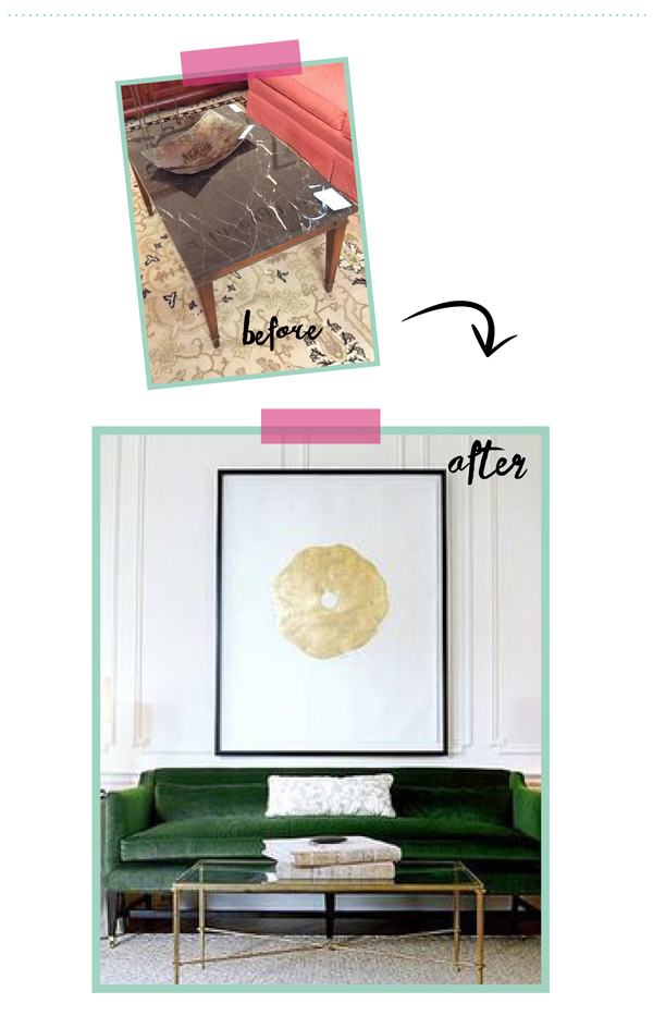consignment furniture makeover/ Black marble coffee table  / The Sweet Escape
