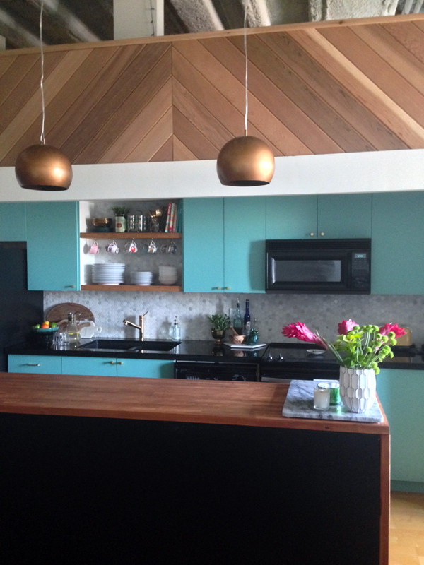 modern vintage, kitchen makeover, loft kitchen, turquoise kitchen, before and after, waterfall kitchen island, the sweet escape