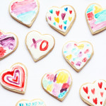 DIY Watercolor valentine heart cookies by The Sweet Escape