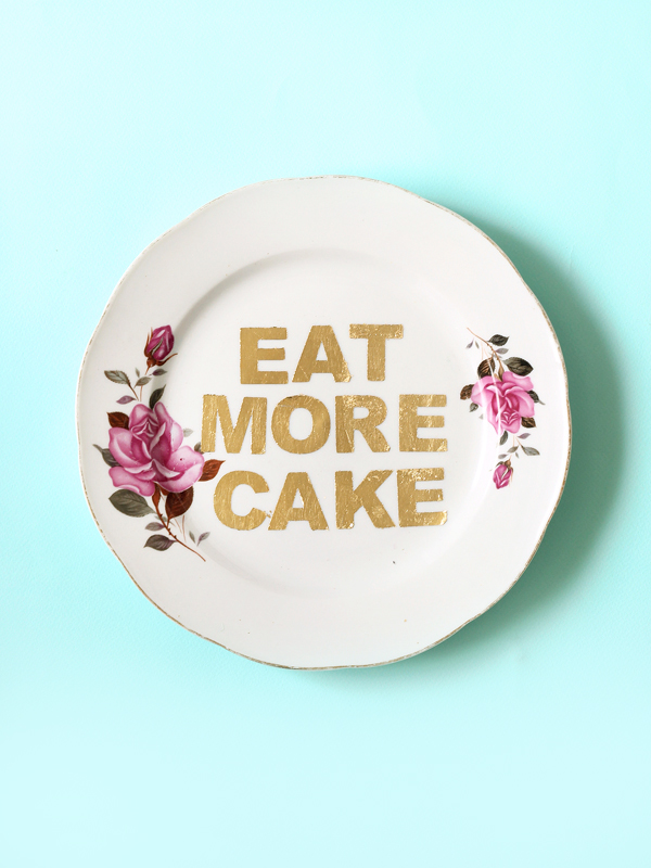 EAT MORE CAKE Repurposed Vintage plate design by The Sweet Escape