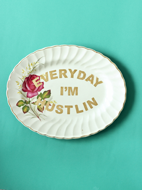 EVERYDAY I'M HUSTLIN repurposed vintage plate gold leaf design by The Sweet Escape