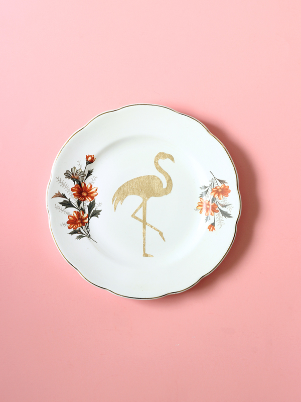 Flamingo repurposed vintage plate gold leaf design by The Sweet Escape