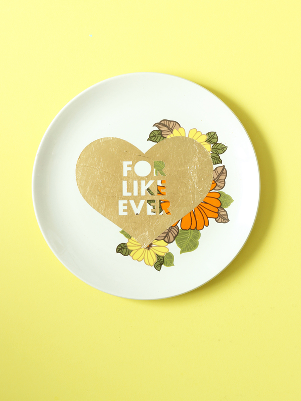FOR LIKE EVER HEART repurposed vintage plate gold leaf design by The Sweet Escape