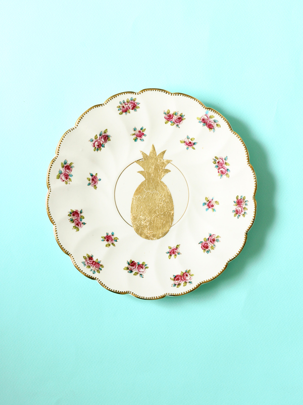 Pineapple repurposed vintage plate gold leaf design by The Sweet Escape