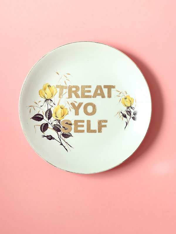 TREAT YO SELF repurposed vintage plate gold leaf design by The Sweet Escape