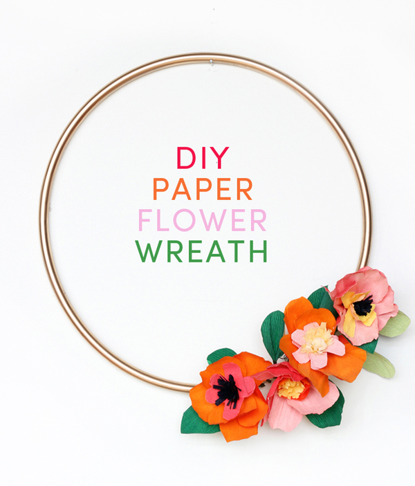 DIY modern paper flower wreath. #spring #summer #florals #mothersday #wedding #shower